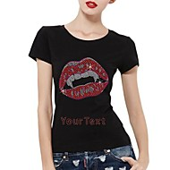 Personalized Rhinestone T-shirts Halloween Vampire Pattern Women's Cotton Short Sleeves