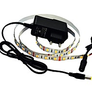 JIAWEN® 1M 5W 60x5050SMD 3000-3200K Warm White/White LED Flexible Strip Light + 1A Power (AC 110-240V)