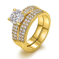 Dames Statementringen Europees Kostuum juwelen Zirkonia Koper 18K goud Gesimuleerde diamant Sieraden Voor Feest Dagelijks Causaal