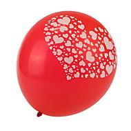 빨간색 두꺼운 심장 깨진 라운드 풍선 초대형 크기 - 24 세트