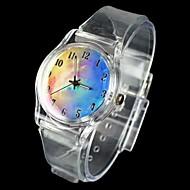 Reloj del análogo de cuarzo de la venda transparente patrón cielo de la fantasía de la mujer
