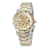 Masculino Relógio Esqueleto Mecânico - de dar corda manualmente Gravação Oca Aço Inoxidável Banda Prata / Dourada marca- WINNER