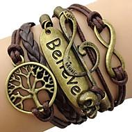 Naisten Wrap Rannekorut Inspiraatio punottu Vintage Nahka Metalliseos Rakkaus äärettömyys Elämän puu Kahvi Korut VartenPäivittäin