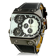 Heren Horloge Japanse quartz Militair horloge Drie tijdzones PU Band Polshorloge
