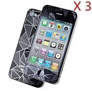 3d diamant foran + tilbake skjermbeskytter for iPhone 4 / 4S (3 stk)