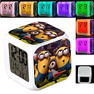 Minions 7 Color Change Digital Alarm Clock LED Thermometer Night Colorful Glowing Toys