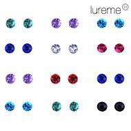 Lureme 12 pairs per Set Shining Diamond Stud Earrings