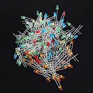 3mm førte dioder - (rød + gul + blå + hvid + grøn + orange) (120 stk)