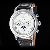 Hommes Montre mécanique Montre Bracelet Remontage automatique Calendrier Cuir Bande Luxe Noir Blanc Noir