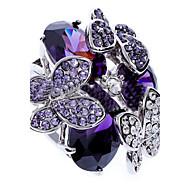 문자 반지 지르콘 모조 큐빅 모조 다이아몬드 합금 패션 퍼플 보석류 파티 1PC