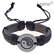 Lureme Chinese Tai JiCharm Leather Braided Bracelet Jewelry