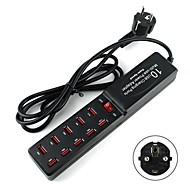 peuplier EU Plug 10 ports de chargement USB de l'adaptateur d'alimentation multi-usage pour Samsung / iphone / ipad (5v)