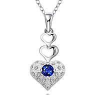 Cremation jewelry 925 sterling silver 3-Layer Heart Shape with Zircon Pendant Necklace for Women