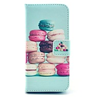 coco fun® fargerik macarons mønster pu lær full body sak med film og usb-kabel og pekepenn for iphone 5c