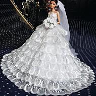 poupée barbie-parole longueur de luxe robe de mariage blanc pur