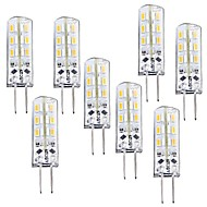 8 pcs G4 1.5W 24 SMD 3014 100-120 lm Warm White T Dimmable LED Corn Lights DC 12 V
