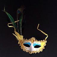 Plume de paon et fard à paupières bleu PVC vacances Demi-masque