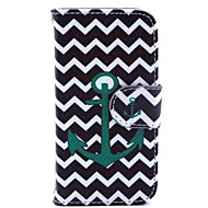 Green Wave Anchor Pattern PU Leather Case and Mini Display Stand with Diamond Dust Plug for iPhone 4/4S