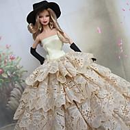 barbie poupée points de polka volants de luxe blanc& robe de princesse noire