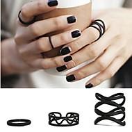 coreano de tendencias de la moda negro mate conjunta anillo 3pcs / set