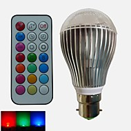 1pcs SchöneColors B22 9 W 3PCS High Power LED Dimmable/Remote-Controlled/Decorative Globe RGB LED Bulbs AC 85-265 V