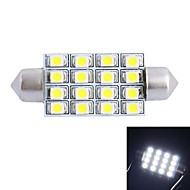 GC® 42mm 4W 200LM 6000K 16x3528 SMD White LED for Car Reading / License Plate / Door Lamp (DC12V)