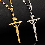 U7® Crucifix 18K Real Gold Plated Cro Jeu Choker Necklace Pendant INRI Religiou Jewelry For Men Women