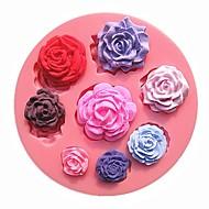 ocho rosas de tamaño patrón de moldes de pastel de chocolate de flores diferentes