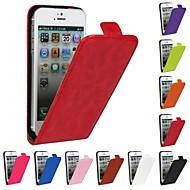 genuíno cavalo louco pu couro luz tampa da caixa do flip-fino para iPhone 5 / 5s