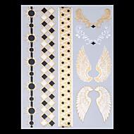 9pcs vegyes minta ideiglenes tetoválások metál arany tetoválás vaku tetoválás toll szárny lakodalom tetoválás