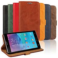 Voor Samsung Galaxy Note Kaarthouder / met standaard / Flip hoesje Volledige behuizing hoesje Effen kleur PU-leer Samsung Note 4