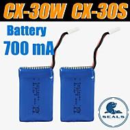 3pcs / pack 3.7v 700mAh cheersontoys lipo batteria per cx-30w CX-30s V686 batterie v686g quadcopter drone originali