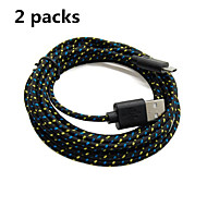 2 Packs 2M 6ft Micro USB Charging and Data Sync Cord Cable Fabric Braided Woven for Samsung HTC Android Black