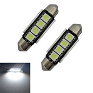 JIAWEN® 2pcs Festoon 42mm 1.5W 4x5050SMD 80-90LM 6000-6500K Cool White Light LED Car Light (DC 12V)