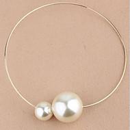 Dame Kort halskæde Halskædevedhæng Vintage Halskæder Perlehalskæde Cirkelformet Perle Simuleret diamant Legering Mode kostume smykker