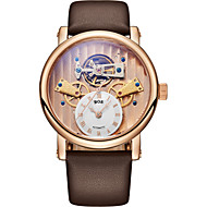 BOS Men's Hollowed Dial Automatic Mechanical Watch Waterpfoof Stainless Steel Case Calfskin Band 9006