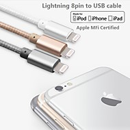mfi certificeret lyn til usb kabel aluminium stik data sync og oplader kabel til iPhone 6 / 6plus / 5s / 5 / ipad (100cm)