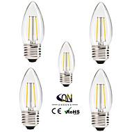 ONDENN 5PCS E26/E27 2 W 2 COB 200 LM 2800-3200K K Warm White A Dimmable Candle Bulbs AC 220-240/AC 110-130 V