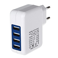 4000ma fire-port usb strømadapter / lader (100 ~ 240v / eu plugg)