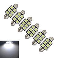 JIAWEN® 6pcs Festoon 36mm 1.5W 6x5050SMD 100-150LM 6000-6500K Cool White Light LED Car Light (DC 12V)