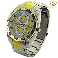 Männer runde Zifferblatt beiläufige Uhr Legierungsarmband Quarzuhr neue Mode-Armbanduhr (farbig sortiert)