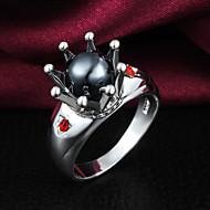 Bandringen Kristal Parel Sterling zilver Zirkonia Kwasten Modieus Zilver-Zwart Sieraden Bruiloft Feest Dagelijks Causaal 1 stuks