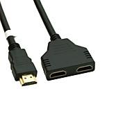 forgyldt hdmi v 1,4 han til dobbelt hdmi kvindelige adapter splitter kabel