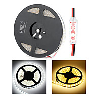 HML Dual-Row 5M Waterproof 600 x 5050 SMD White/Warm White Light LED Strip Lamp with HML Mini Controller Set (12V)
