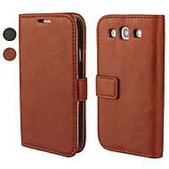 Pro Samsung Galaxy pouzdro Peněženka / Pouzdro na karty / se stojánkem / Flip Carcasă Oboustranný Carcasă Jednobarevné PU kůže Samsung S3