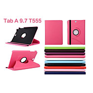 PU Leather Solid Color  360⁰ Cases Full Body Cases Cases with Stand Auto Sleep/Wake Up For Galaxy Tab A 9.7