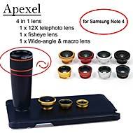 Apexel 4 in 1 12X Black Telescope Lens+Fisheye Lens+Wide-angle+Macro Lens with Case for Samsung Galaxy Note 4