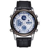 ASJ Herren Sportuhr Armbanduhr Japanisch Quartz LCD Chronograph Wasserdicht Duale Zeitzonen Alarm Edelstahl Leder Band LuxuriösSchwarz