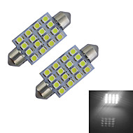 JIAWEN® 2pcs Festoon 41mm 1.5W 16x3528SMD 80-100LM 6000-6500K Cool White Light Reading Lamp LED Car Light (DC 12V)
