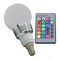 E14 3W RGB Led Bulb Light with Remote Controller (AC 100-220V) 400LM